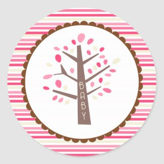 Tree Baby Shower Cupcake Toppers/Stickers zazzle_sticker
