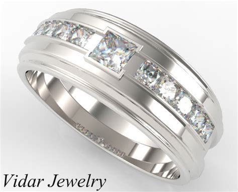 White Gold Diamond Wedding Band Princess Cut   Vidar