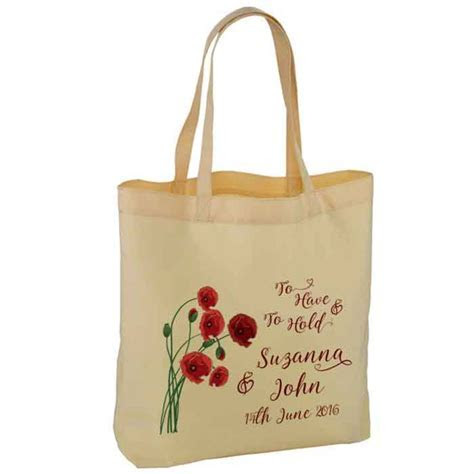 Poppy Design Personalised Wedding Favour Cotton Tote Bag