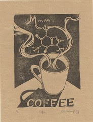 mmm... coffee linocut with caffeine molecule