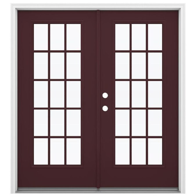 Jeld Wen French 72 In X 80 In External Grilles Currant Steel Right Hand Inswing Double Door French Patio Door In The Patio Doors Department At Lowes Com