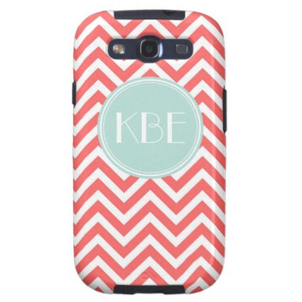 Coral and Mint Chevron Custom Monogram Galaxy S3 Covers