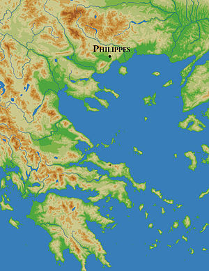 Map of Greece showing Philippi.