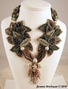 Micro macrame leaf necklace by Jeanne Wertman