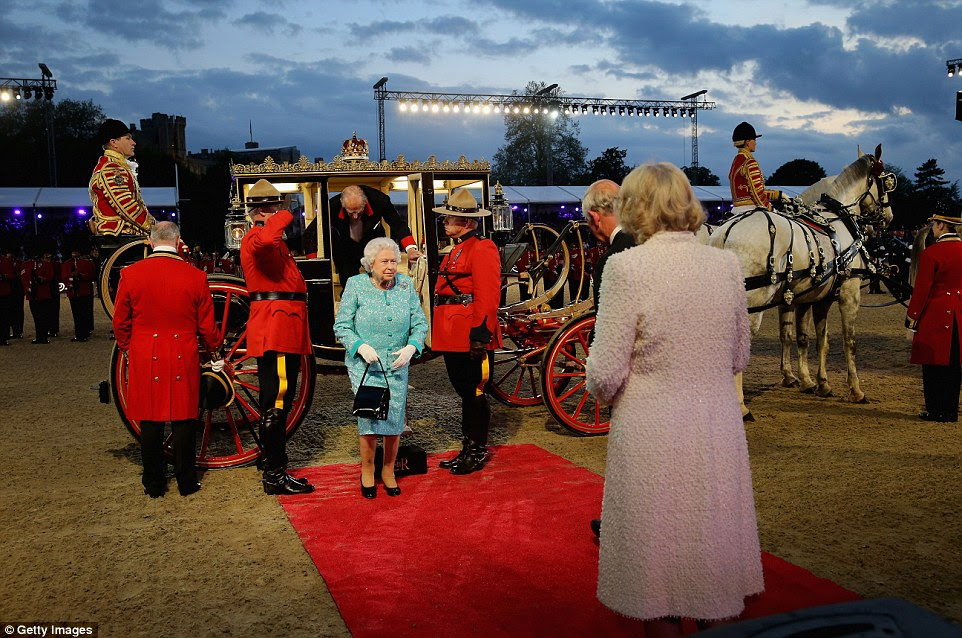 The Queen arrives for her 90th birthday celebration at Windsor Castle this evening and she entered the performance ring in a state carriage