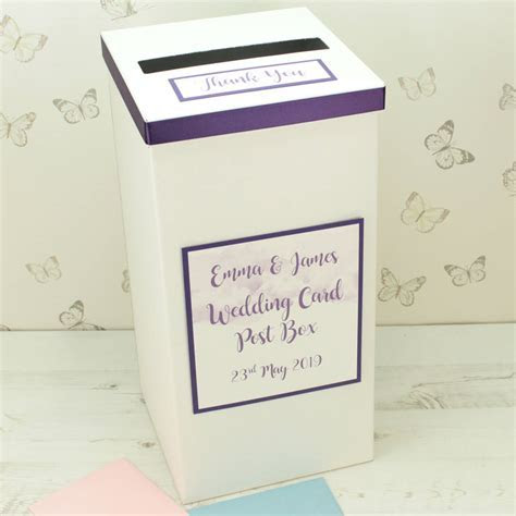 personalised watercolour wedding post box by dreams to