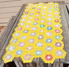 Vintage Yellow Quilt Top or Table Runner