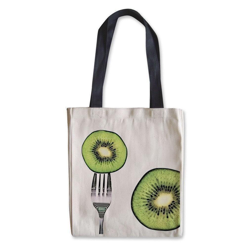 Kiwi Canvas Tote Bag with Black Handles