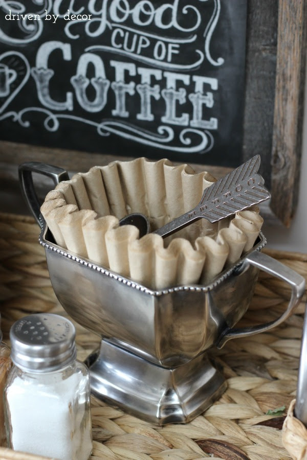 "Genius idea....using a silver ""bowl"" to hold filters at a coffee bar.....from Driven by Decor 
