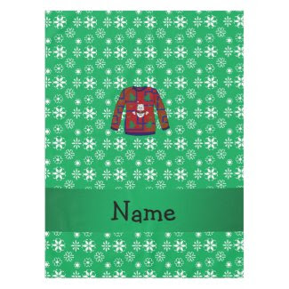 Personalized name ugly christmas sweater snowflake tablecloth