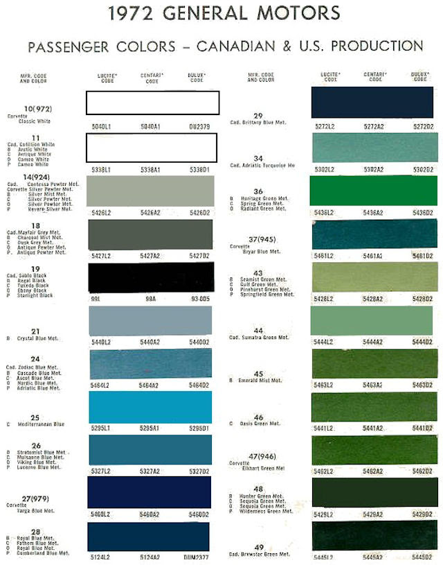 Gm Paint Codes >> 1972 Gm Paint Color Mulsanne Blue Five Gigantic Influences