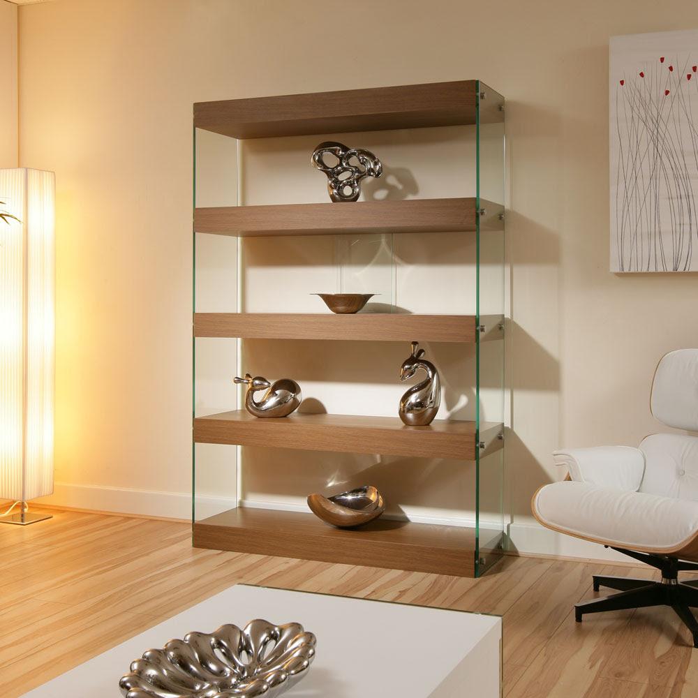 Display Cabinet / Shelving Unit / Shelves Walnut / Glass ...