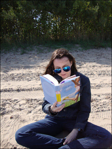 Reading Water Balloon (by Audrey Vernick) on the beach in late September