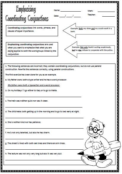 Emphasizing Coordinating Conjunctions Worksheet