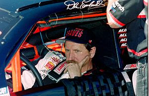 NASCAR champion Dale Earnhardt in his car