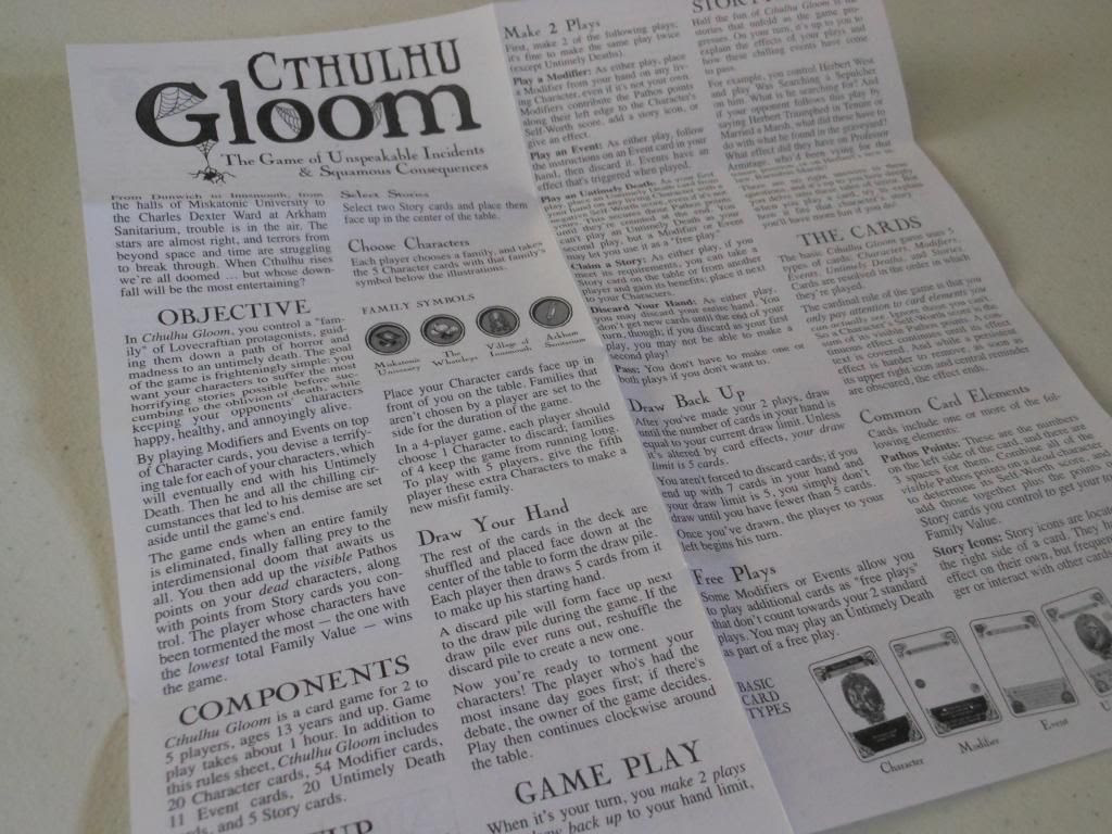 Cthulhu Gloom rules