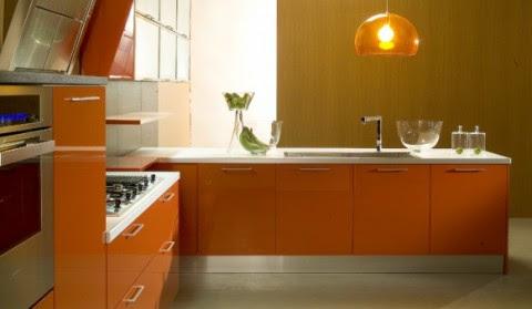 Modernas y sofisticadas cocinas en color naranja-05