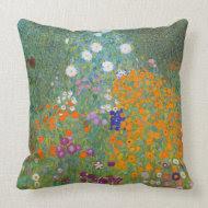 Gustav Klimt Cottage Garden Vintage Throw Pillow throwpillow