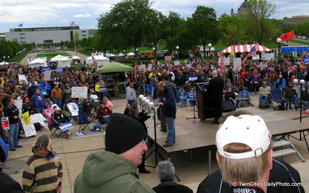 Behind the stage of the 2010 Jason Lewis tax cut rally held at the Saint Paul Capital steps.