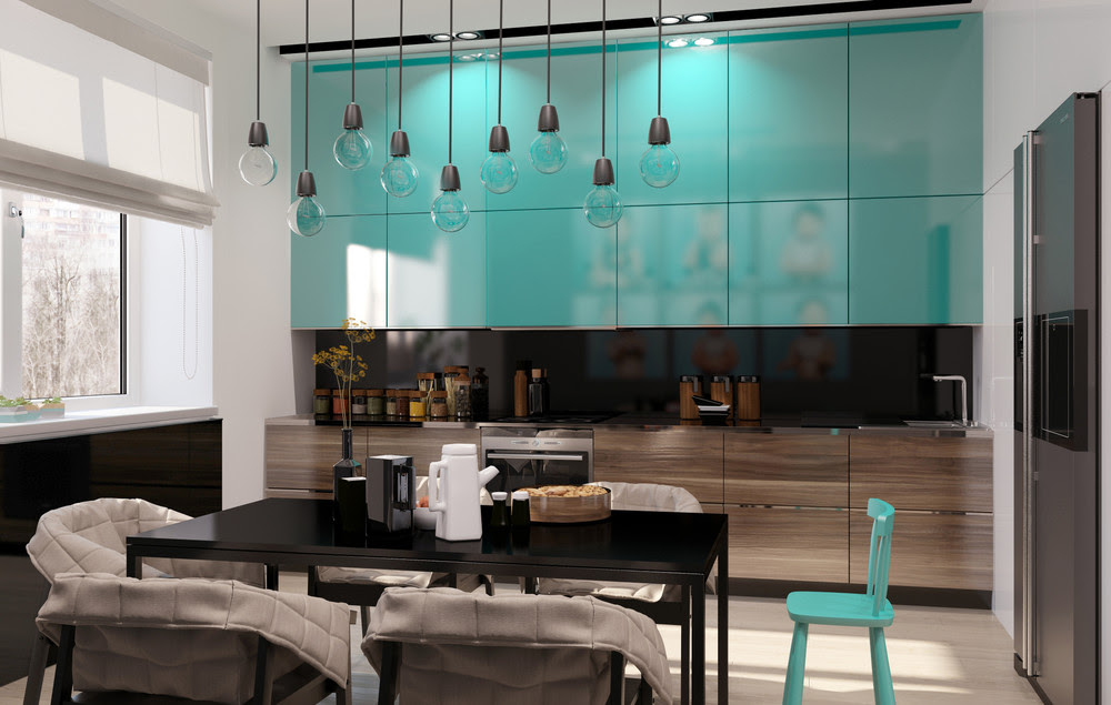 Teal Kitchen Cabinetsinterior Design Ideas