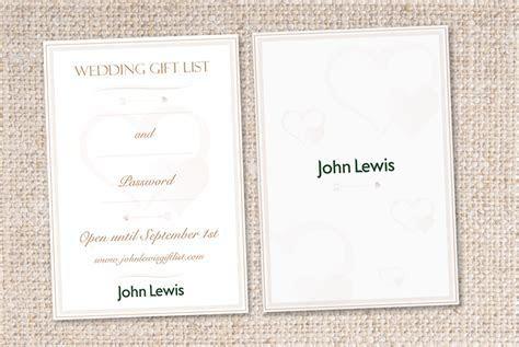 Briefbox? » Wedding ?Gift List? Card for John Lewis