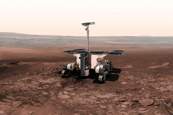 An artist's concept of the European Space Agency's ExoMars 2020 rover.
