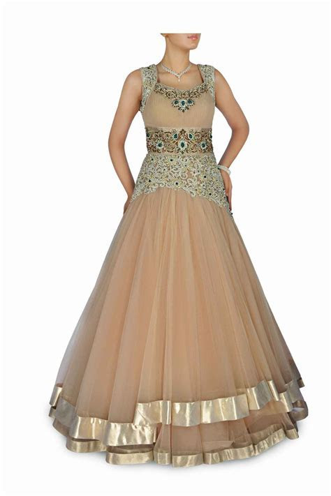Beige colour Indo Western Bridal gown   Gown   Bridal