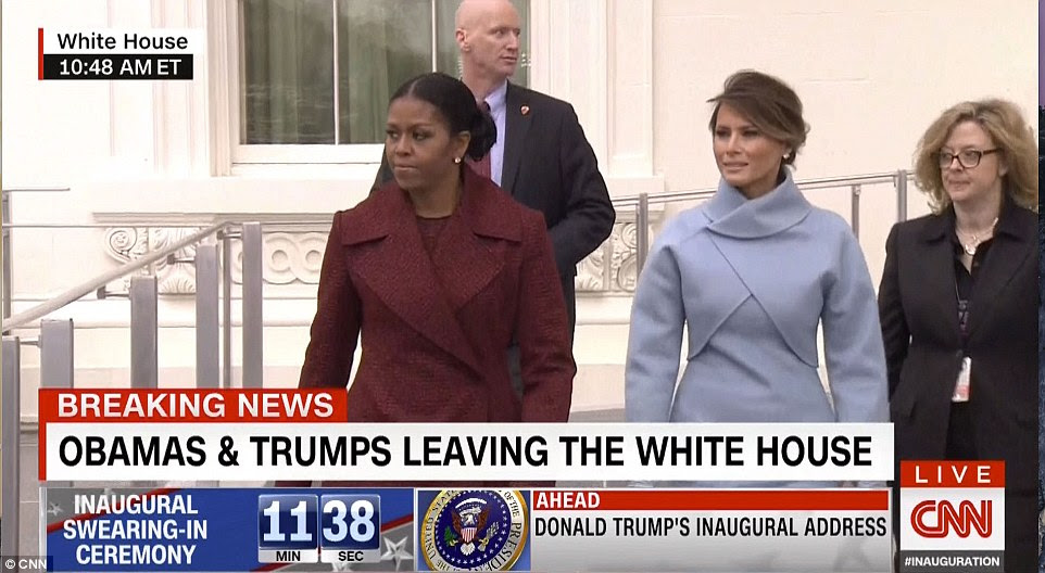 Mrs Obama and future first lady Melania were seen leaving the White House after tea