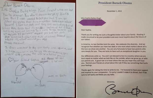 Carta enviada por garota americana com dois pais (esq.) e a resposta de Obama (Foto: Reprodução)
