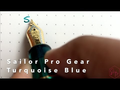 Writing with a Sailor Pro Gear Turquoise Blue Fountain Pen