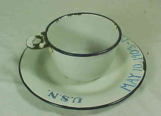 3 piece set consisted of a plate, bowl and cup with metal tab