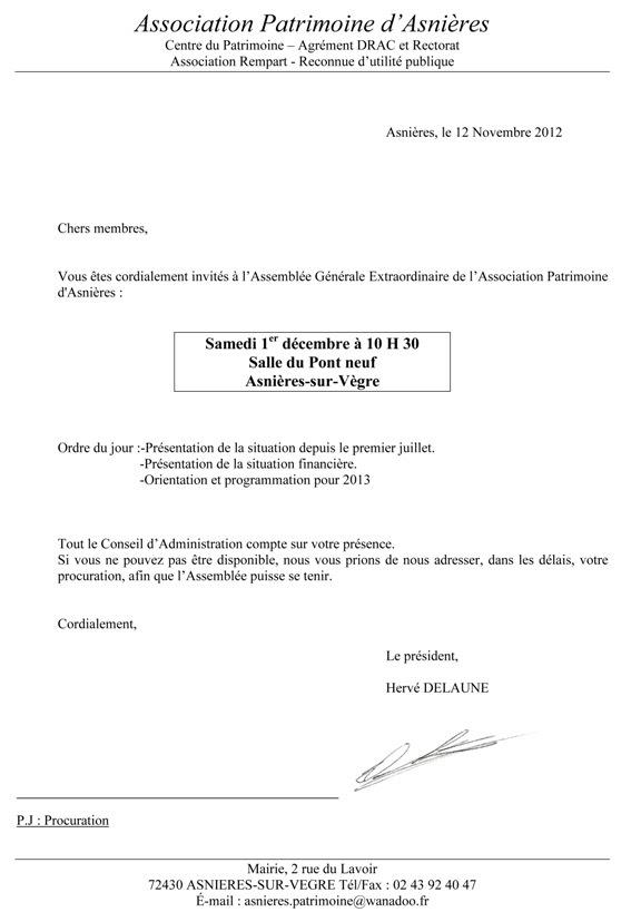 Exemple Ordre Du Jour Assemblee Generale Association Le