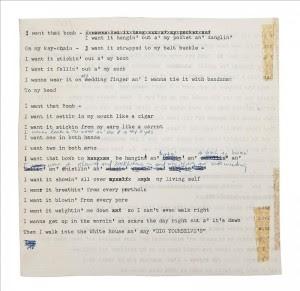 """Fotografía facilitada por la casa Christie's de la letra inédita de la canción """"Go Away You Bomb"""" de Bob Dylan, que será subastada el 26 de junio por dicha casa en Londres, y que estima su valor en alrededor de 40.000 dólares. EFE"""