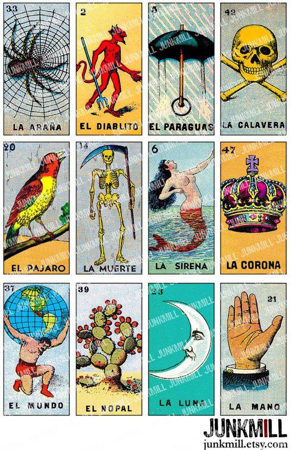 LOTERIA - Digital Printable Collage Sheet - Vintage Loteria Card ...