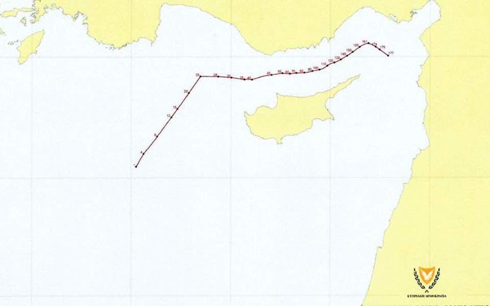 Ο χάρτης με τις συντεταγμένες που κατέθεσε η Κύπρος στον ΟΗΕ