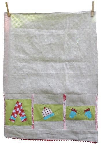 Winter Woolies tea towel