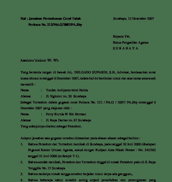 41++ Contoh surat jawaban gugatan cerai doc terbaru terbaru