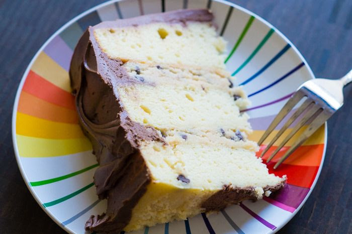 Yellow Cake with Cookie Dough Filling and Fudge Frosting