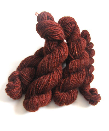 hand carded/spun/dyed corriedale