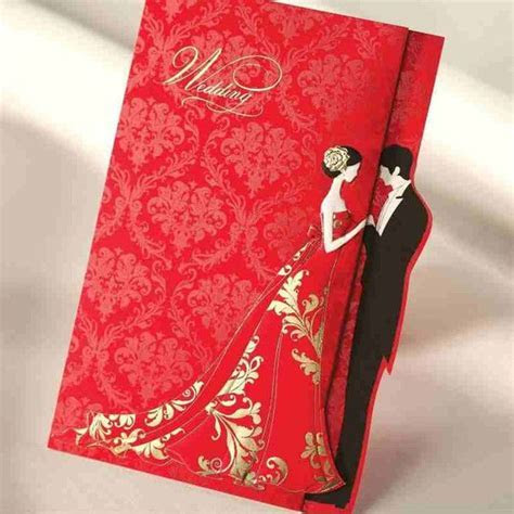 Cheap Red Gold Stamp Wedding Invitations Cards With