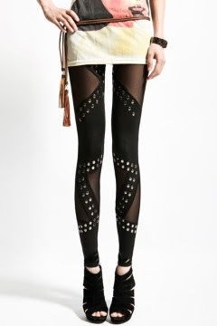 Rock Rivet Net SplicingClub Leggings