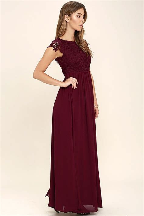 The Greatest Burgundy Lace Maxi Dress in 2019   Wedding