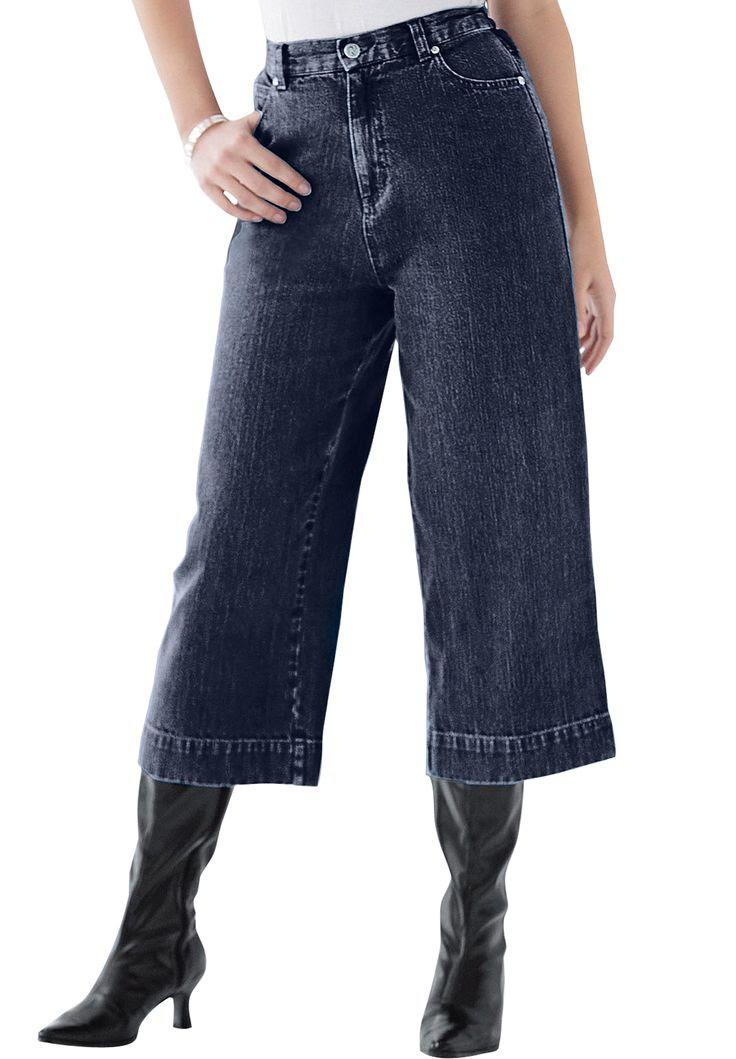 Wide Leg Crop Denim Capri | Plus Size Capris and Shorts | Roamans