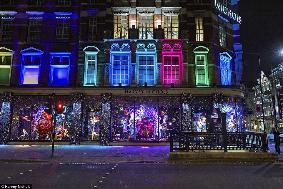 The store in Knightsbridge has come alive with a kaleidoscope of colour, with twinkling Christmas lights surrounding the window displays