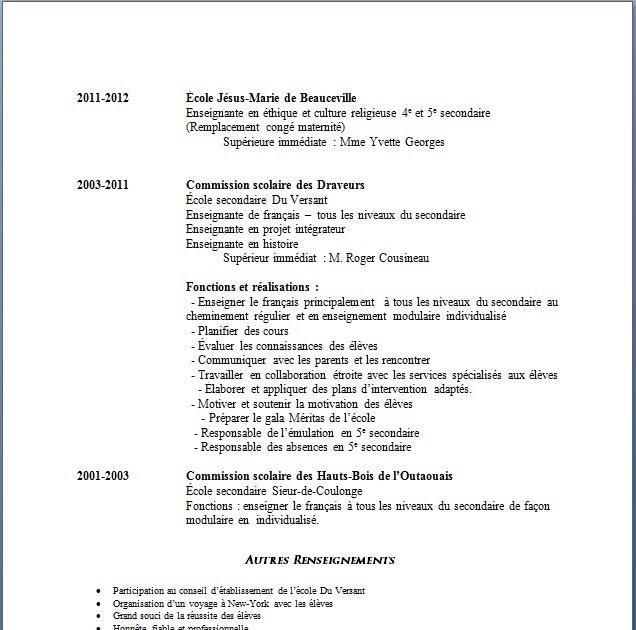 resume format  mod u00e8les de cv pour enseignants