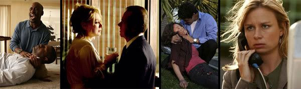 IMAGE 1: Wayne Palmer mourns over the death of his brother.  IMAGE 2: President Logan confers with his wife Martha.  IMAGE 3: Tony Almeida tends to the body of his wife Michelle after she falls victim to a car bomb.  IMAGE 3: Chloe O'Brian calls Jack Bauer for help after she was being pursued by bad guys.