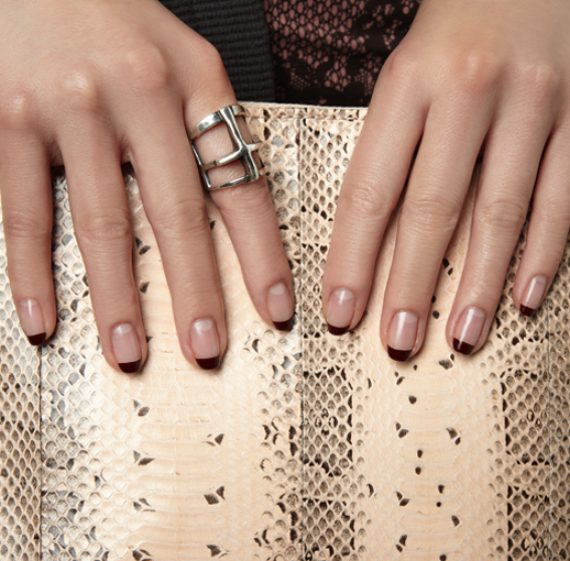 LE FASHION BLOG BEAUTY POST NAIL NAIL POLISH NAIL ART MANICURE NUDE CLEAN NAIL OXBLOOD BURGUNDY TIPS ALTERNATIVE FRENCH MANICURE PYTHON SNAKE CLUTCH PAMELA LOVE SILVER RING VIA SHOPBOP BLOG SHOPTALK DOKIA VAMPY
