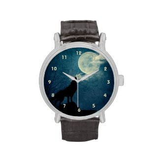 Blue Moon, Full Moon Howling Wolf Custom Watch