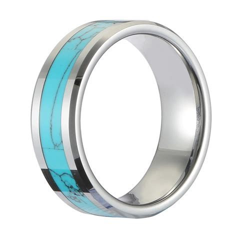 Classic 8mm Tungsten Carbide Ring Blue Turquoise High