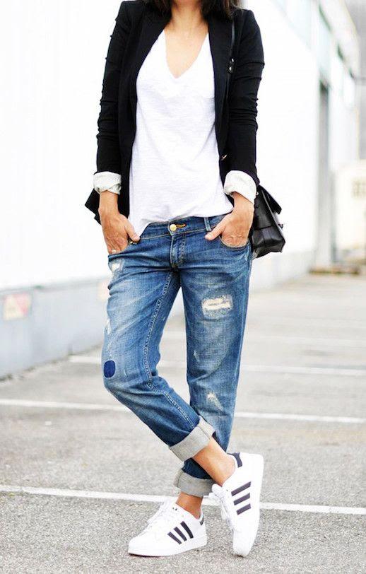 Le Fashion Blog 25 Ways To Wear Adidas Sneakers Blazer White Tee Patch Boyfriend Jeans Superstar Via The Chic Street Journal